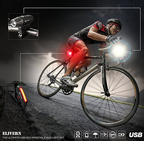 Elivern Super Bright LED Bike Light, Flash Bike Light Front and Back, 400 Lumens Headlight and 100 Lumens Tail Light,Easy Installation,Waterproof,USB Rechargeable Bike Light for Mountain Bikes by Elivern (Image #5)