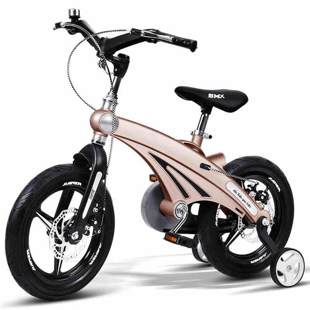 HAIZHEN マウンテンバイク 子供の自転車12/14/16インチの少年の自転車ベビーキャリッジマウンテンバイク自転車2-8歳のマグネシウム合金フレームダブルディスクブレーキ 新生児 B00ZK21QMY 12 inch|ゴールド ゴールド 12 inch