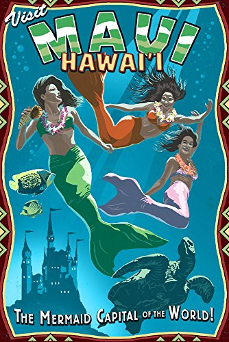 Mermaid Vintage Sign - Maui, Hawaii (9x12 Art Print, Wall Decor Travel Poster) (Office Supplies Maui)