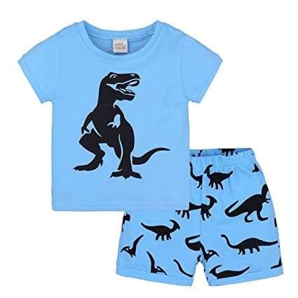 788843d9391d Amazon.com  24M-7T Kids Boys Outfits Set Clothing Daoroka Toddler Infant  Baby Pajamas Cartoon Dinosaur Print Tops Shorts  Toys   Games