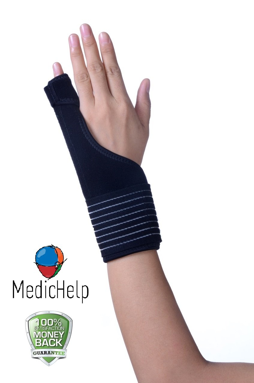 MedicHelp Trigger Finger and Hand Immobilizer Splint for Thumb, Wrist and Palm | Brace for Carpal Tunnel, Tendonitis, Arthritis, Soft Tissue Injuries | Breathable Fabric with Strong Velcro | CE Mark