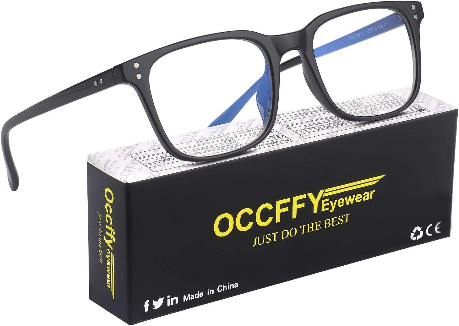 Occffy Gafas para Ordenador Anti luz Azul Antifatiga Sin Graduacion Gafas Luz Azul para PC, Gaming, Tablet, Lectura, Video Juegos Lentes Transparente Hombre Mujer Oc092 (Negro)