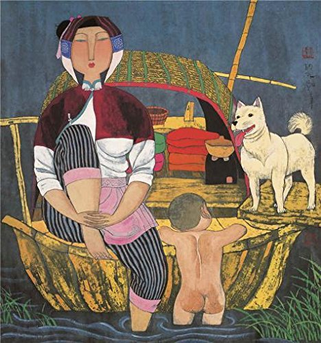 [Oil Painting 'Hu Yongkai,On The Boat,21th Century', 24 x 26 inch / 61 x 65 cm , on High Definition HD canvas prints is for Gifts And Home Office, Kids Room And Study Room Decoration,] (Tv Commercial Costumes Halloween)
