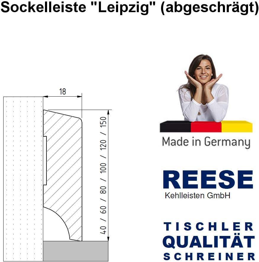 SockelleisteLeipzig MDF WEISS Folie Oben Abgeschr/ägt 100mm H/öhe, 1 St/ück // 2,3lfm SPARPAKET