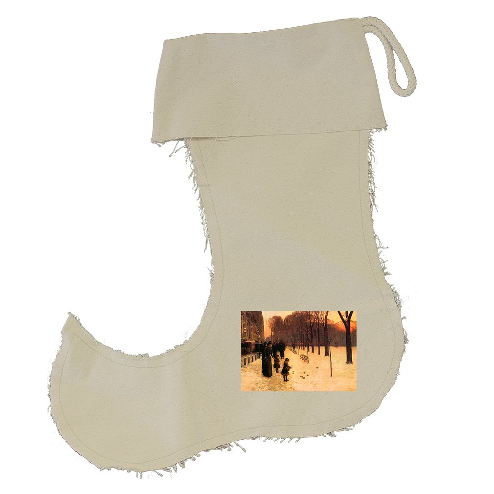 Boston In Everyday Twilight (Hassam) Cotton Canvas Stocking Jester - Large by Style in Print