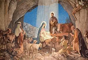 DaShan 14x10ft Christmas Nativity Scene Backdrop for Photography Bible Story Holy Family Mary and Joseph Bethlehem Christ Child Birth of Jesus Manger Silhouette Background Photo Studio Props