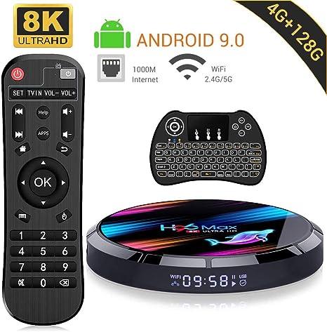 4GB 128GB Compatible con 8K 4K 3D 5g Smart TV Box con Mini Teclado Android TV Box 10 Amlogic s905x3 Dual-WiFi 2.4g