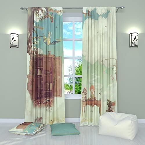 Factory4me Art Curtains Collection Childhood. Window Curtain Set of 2 Panels Each W52 x L96 Total W104 x L96 inches Drape