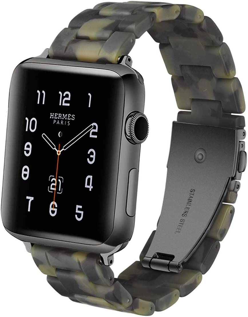 EOOZON Resin Strap Compatible with Apple Watch Band 38mm 40mm 42mm 44mm Series1 Series2 Series3 Series4,Ladies and Men Fashion Resin Watch Band,iWatch Replacement Wristband (38mm 4Camouflage Green)