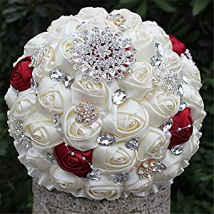 FYSTORE Customization Romantic Wedding Bride Holding Bouquet Roses with Diamond Pearl Ribbon Valentine's Day Confession 18CM 13