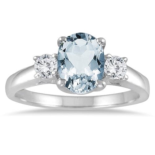 9ccf4b4857ea Aguamarina y Diamante Anillo de piedra de tres 14 K oro blanco  SZUL   Amazon.es  Joyería
