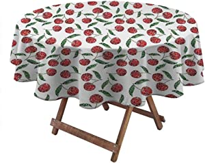 Outdoor Round Tablecloth Garden Table Linens for Weddings Grunge Mosaic Style Cherries Seasonal Ripe Sweet Fruits Fresh Orchard Harvest Print 60