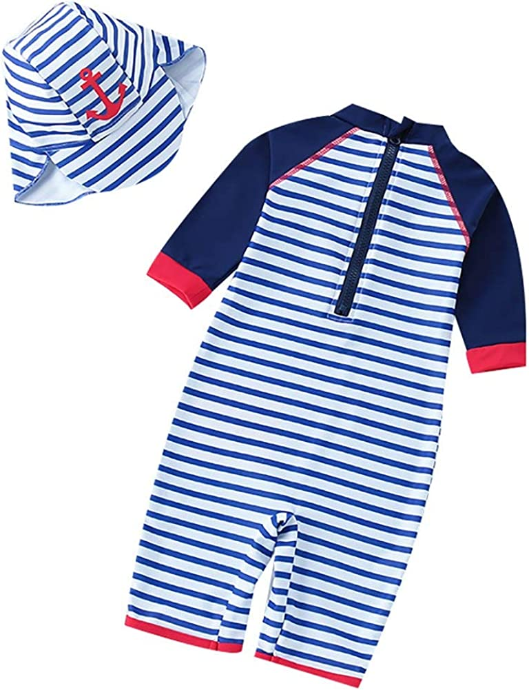 Achiyi Baby Boys One Piece Stripe Swimwear Bathing Suits Swimsuits UPF50 Quick Dry Beachwear Rash Guard