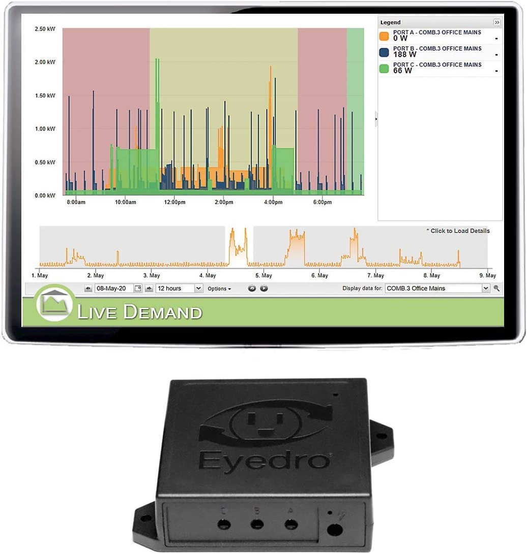 Eyedro Business 3 Port Wireless Expansion System EBWXS3-SUB-LV – Customize With a Range of Sensors Sizes (not incl.) – Real-Time Web Based Energy Monitoring – Compatible With Your Existing EBWEM1-LV