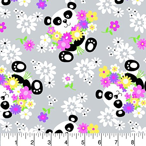 Comfy Flannel Cute Panda and Flowers Gray Fabric Sold by the Yard