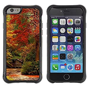 Pulsar iFace Series Tpu silicona Carcasa Funda Case para Apple (4.7 inches!!!) iPhone 6 , Feuilles d'automne Couleurs Rouge Forêt Jaune