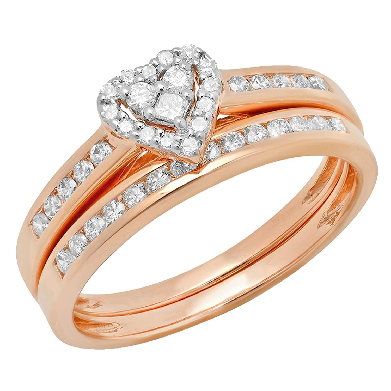 0.50 Carat (ctw) 10K Gold Round Diamond Ladies Heart Shaped Bridal Engagement Ring Set 1/2 CT