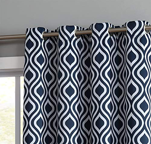 Panels Curtain Hanging (HLC.ME OGEE Trellis Print Blackout Grommet Curtain Panels for Window - 99% Light Blocking - Thermal Insulated Decorative Hanging Pair for Privacy & Room Darkening - Set of 2 (52
