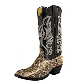e5e542091cf Amazon.com | Cowtown Men's Square Toe Python Snakeskin Boot Q818 ...