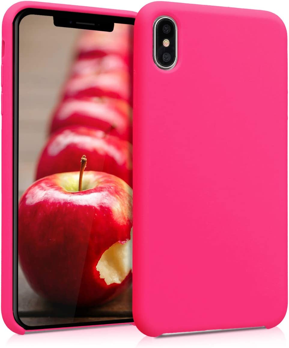 kwmobile TPU Silicone Case Compatible with Apple iPhone Xs Max - Soft Flexible Rubber Protective Cover - Neon Pink