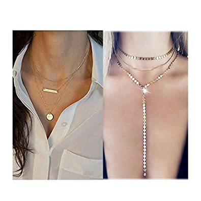 c321d7be00e9f Mintrayor 2 Pcs Layered Coin Choker Necklace Set Disc Bar Y Chain Pendant  Necklace for Women Girls