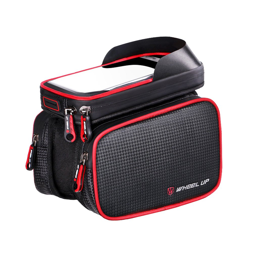 Waterproof Cycling Bike Top Tube Handlebar Bag Phone Mount Holder Touch Screen Bicycle MTB Bag for iPhone X 8 7 7Plus 6 6plus Samsung - Red (6.2 inch)