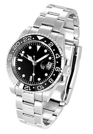 677f7aac35 Amazon | ノーロゴ 腕時計 自動巻き GMTマスターNL-002SB4ASG (並行輸入 ...