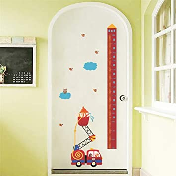 Bdhnmx Cartoon Fox Owl and Fire Engine Growth Chart Wall Stickers for Kids Room Home Decor