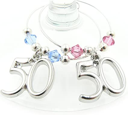 50th Birthday Wine Glass Charm With 2021 Charm Gin Gift Amazon Co Uk Home Kitchen
