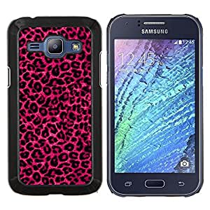 LECELL--Funda protectora / Cubierta / Piel For Samsung Galaxy J1 J100 -- rosa bling de pieles de leopardo púrpura patrón --