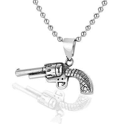 Epinki Acero Inoxidable Hombre Collar Pistola Forma Cadena ...