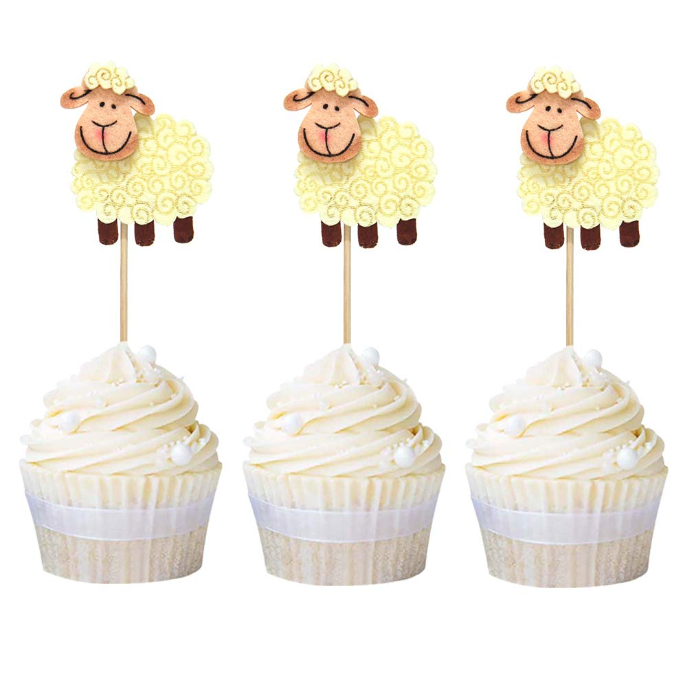 10PCS Glitter Cupcake Toppers Picks Baby Shower Kids Birthday Party Decorations