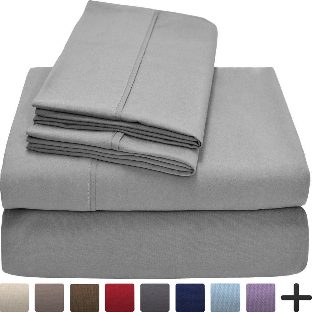 Bare Home Premium 1800 Ultra-Soft Microfiber Collection Sheet Set - Double Brushed - Hypoallergenic - Wrinkle Resistant - Deep Pocket (King, Light Grey)