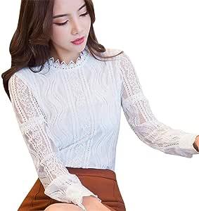 FuweiEncore Blusas y Tops para Mujer Moda para Mujer Oficina de Encaje con Rayas Floral de Manga Larga Camisa Delgada de Trabajo Top Blusa Informal (Color : Blanco, tamaño : Large): Amazon.es: