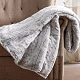 Oversized Snow Leopard Grey Faux Fur Filled Throw, 60x70 inches
