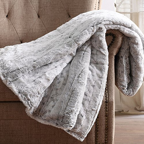 Oversized Snow Leopard Grey Faux Fur Filled Throw, 60x70 inches by Christian Siriano