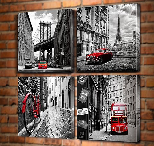 City Wall Art - Black White Cityscape Canvas Print Wall Art - Paris Eiffel Tower - London Double Decker Buss Classic Red Car Home Office Decor (16x16inchx4, No Outside Frame)