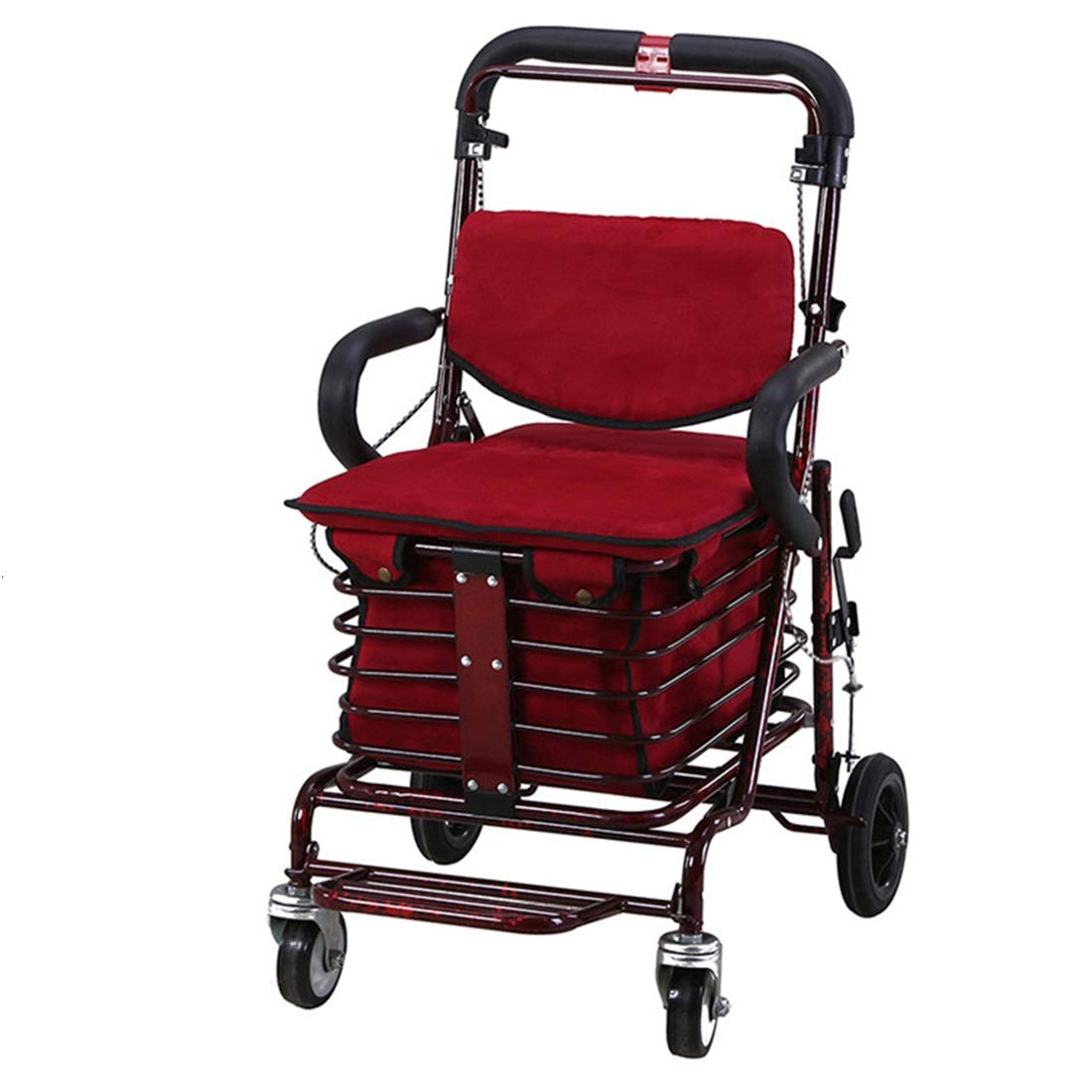Walking Frame with Wheels Narrow,Lightweight Four Wheeled Rollator with Lockable Brake for Height Adjustment Auxiliary Walking Safety Walker (Size : Deep red)
