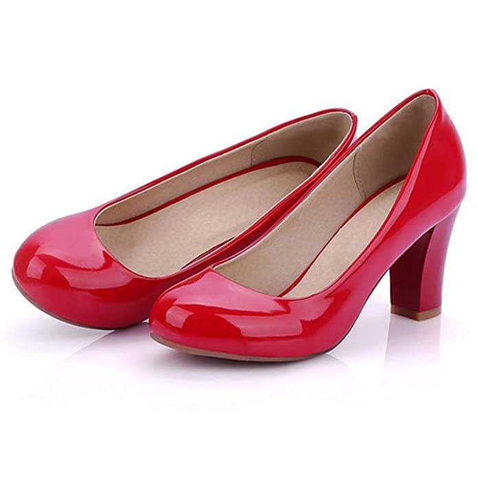TAOFFEN Women Fashion Synthetic Patent Round Toe High Heels Court Shoes:  Amazon.co.uk: Shoes & Bags