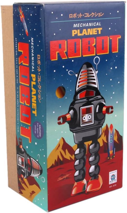 yotijar M/écanisme de Robot de Plan/ète Marche en M/étal Rouge Vintage Wind Up