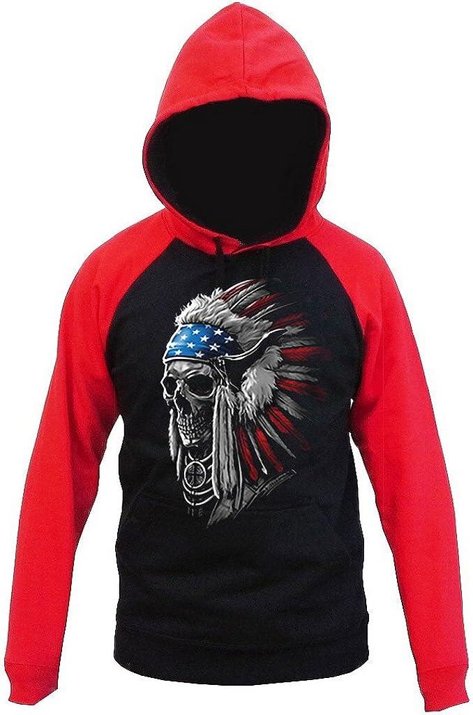Native American Patriotic Flag Chief Skull Mens Black//Red Raglan Baseball Hoodie Sweater Black
