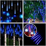 Connectable Meteor Shower Lights Blue,Battery/USB Operated,11.8in 8 Tubes 144 LED Twinkling Romantic Lights for Garden Park Xmas Patio Valentine Cafe Bar Hotel Restaurant Yard Decoration