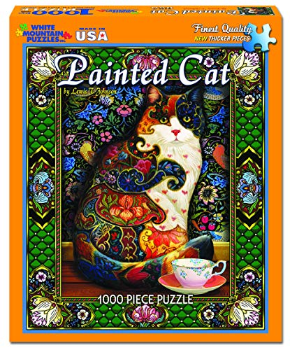 - White Mountain Puzzles - Painted Cat by Lewis T. Johnson - 1,000 Piece Jigsaw Puzzle
