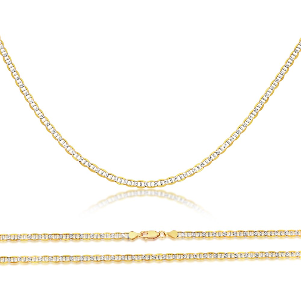 14K 2.5mm Light Weight Pave Two Tone Gold Flat Mariner Chain Necklace