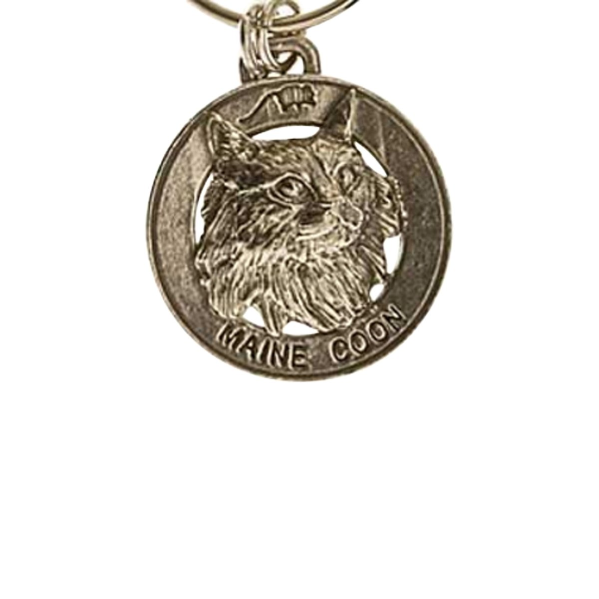 Creative Pewter Designs, Pewter Maine Coon Cat Key Chain, Antiqued Finish, CK005
