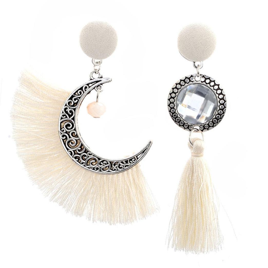 Beuu Hot Sale Pierced Irregular Sunflowers Earrings Openwork Style Sun And Moon Crystal Tassel Dangle