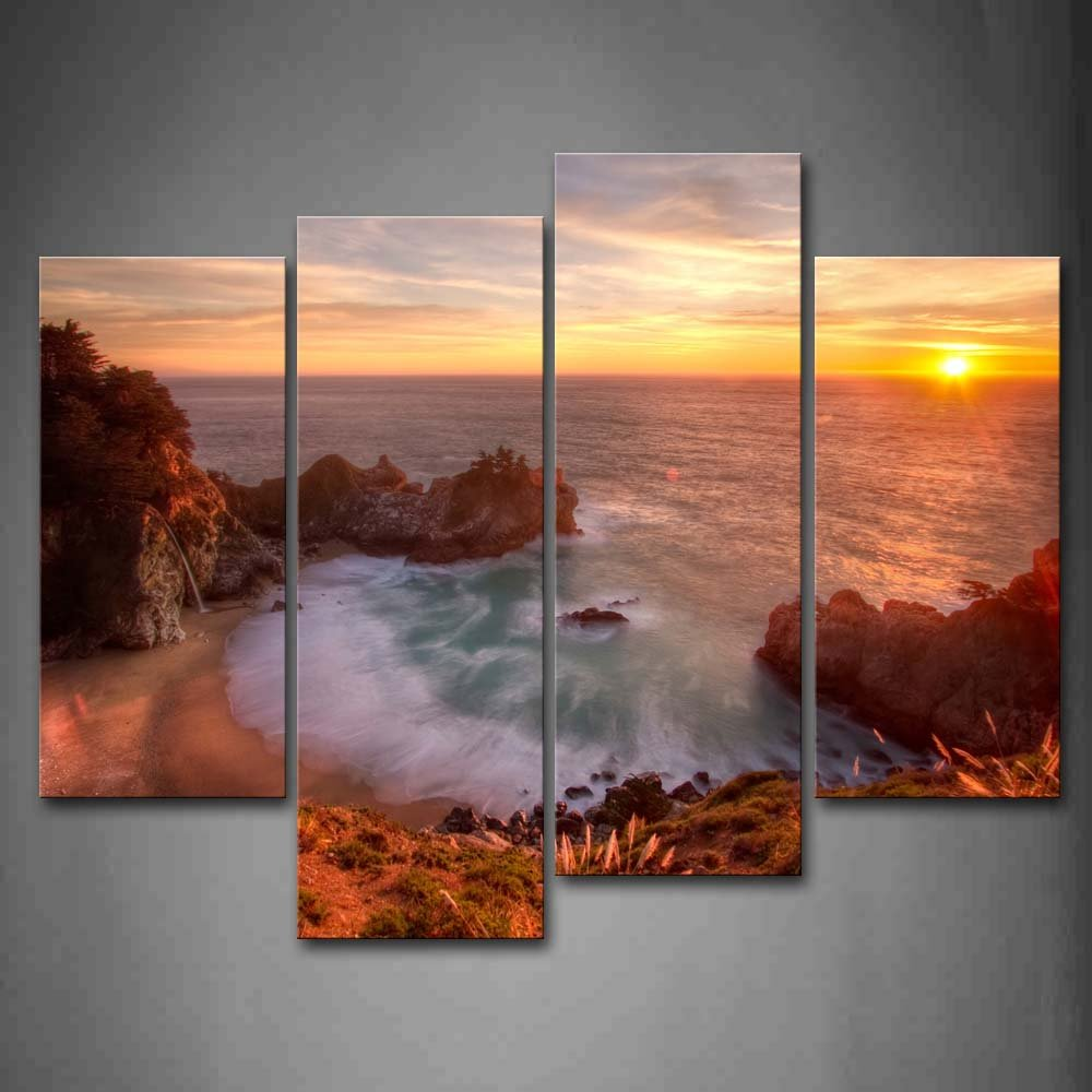 Golden Sun Over Sea Leval Small Bay And Beach Wall Art Painting Pictures Print On Canvas