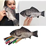 Brand-New Funny Rare Silver Carp Real Fish-Like Zipper Pen & Make-up Pouch Pencil Case