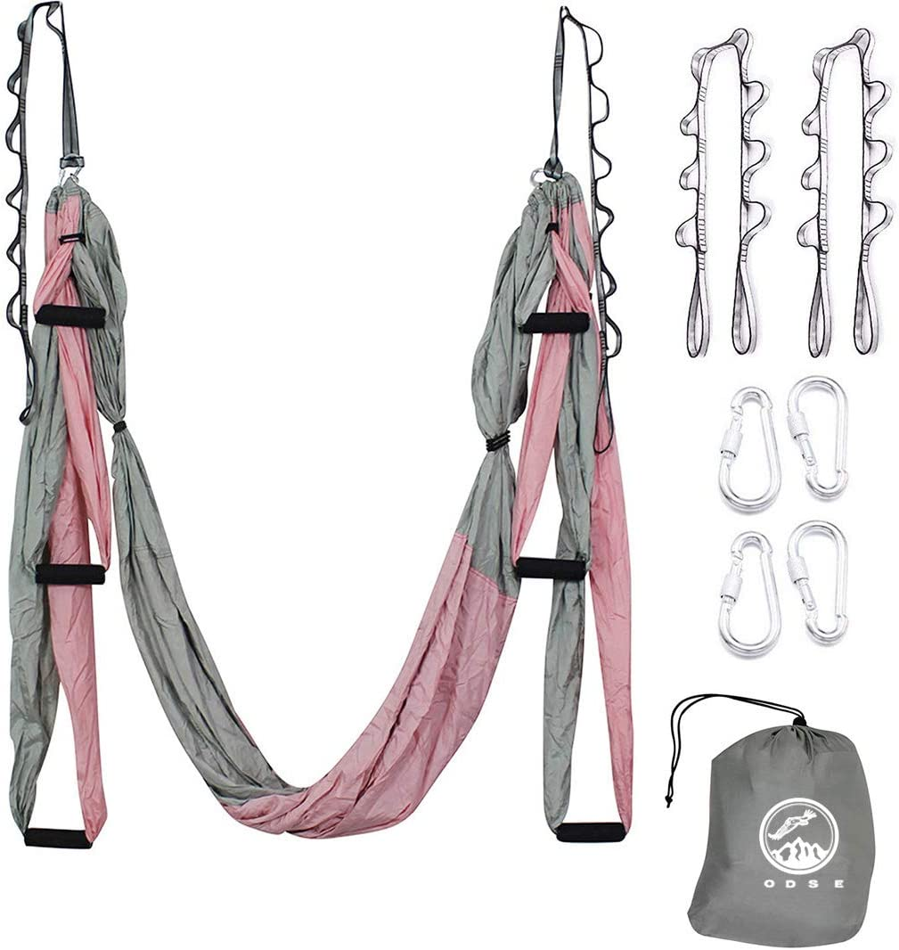 ODSE Aerial Yoga Swing – Ultra Strong Antigravity Yoga Hammock Sling Inversion Tool for Air Yoga Inversion Exercises – 2 Extensions Straps Included Pink Gray