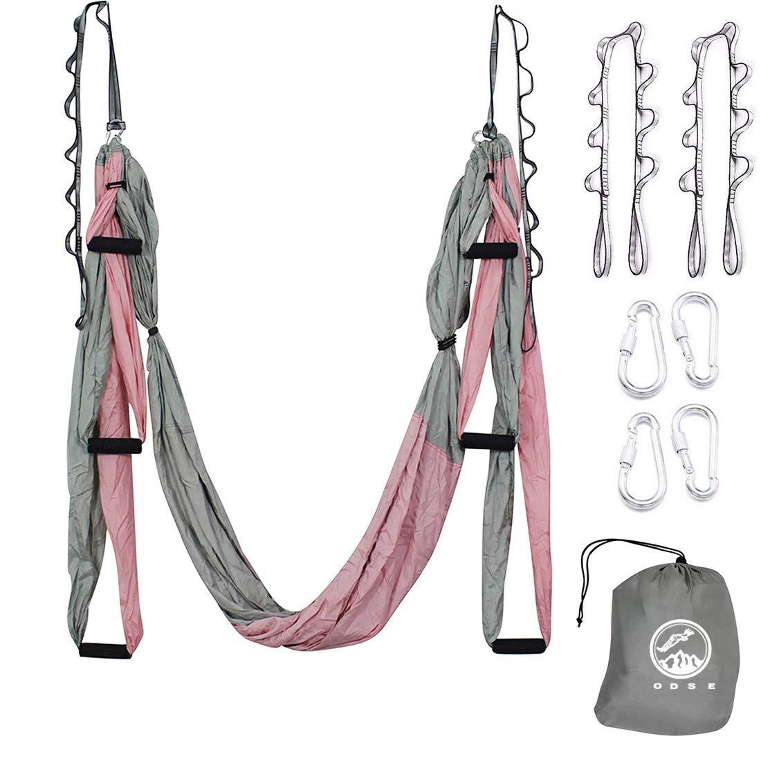 Outdoor Skye Aerial Yoga Swing – Ultra Strong Antigravity Yoga Hammock Sling Inversion Tool for Air Yoga Inversion Exercises – 2 Extensions Straps Included Pink Gray